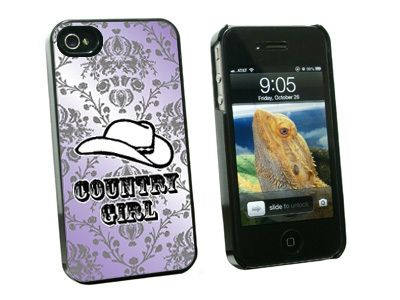 Country Girl Purple Damask Cowboy Hat Hard Case for Apple