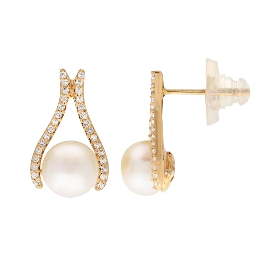 d3246e69e 14k Gold Freshwater Cultured Pearl & White Topaz Drop Earrings, Women's