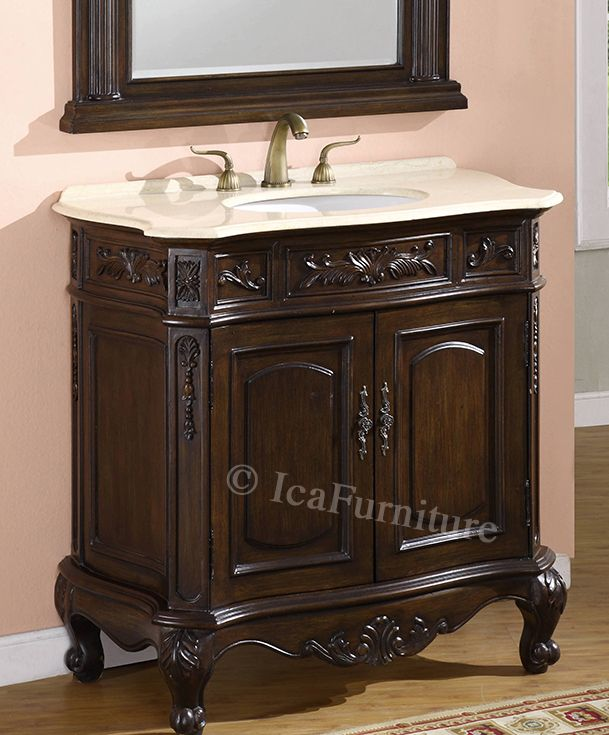 cream and brown bathroom accessories. Update Your Bathroom Decor With This Magnificent Antique Reproduction Brown  Vanity Chest Modest Carvings Along The Legs And Edge A Cream Rose 36 Inch 7436 Cream Rose Marble Top 1 Backsplash Brown