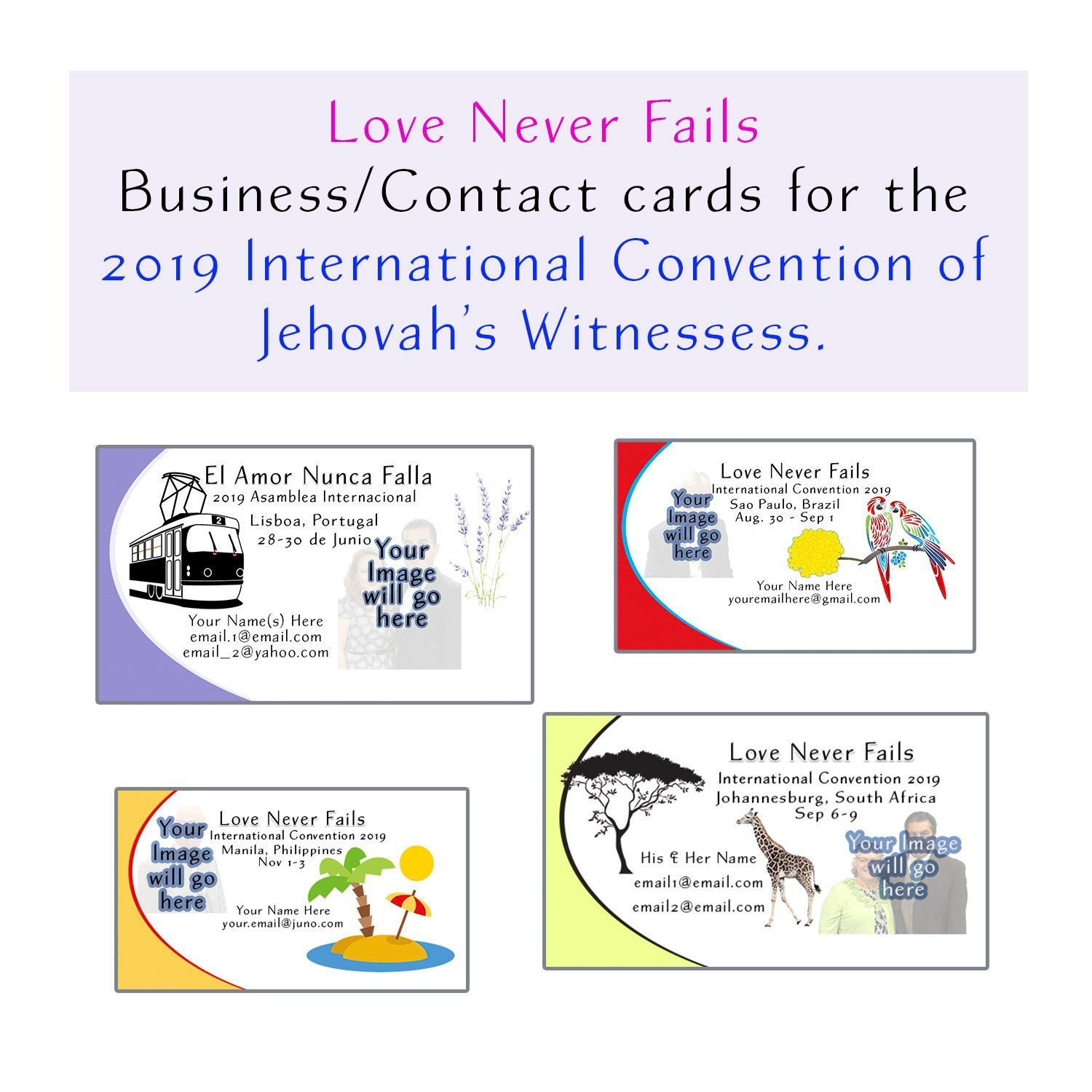 Business/Contact Cards, Love Never Fails, JW 2019 International