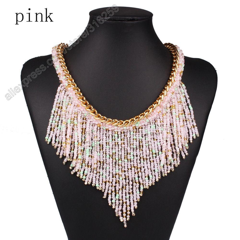 Bohemaian Acrylic Beads Fabric Choker Chunky Collar Statement Necklace SJqv6XuDs