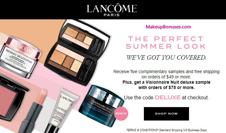 92070e68fe8 Lancôme Free Choice of Bonus Gifts with $49 Purchase and Promo Code -  details at MakeupBonuses.com #lancomeUSA #free #bonus #GWP MakeupBonuses.com