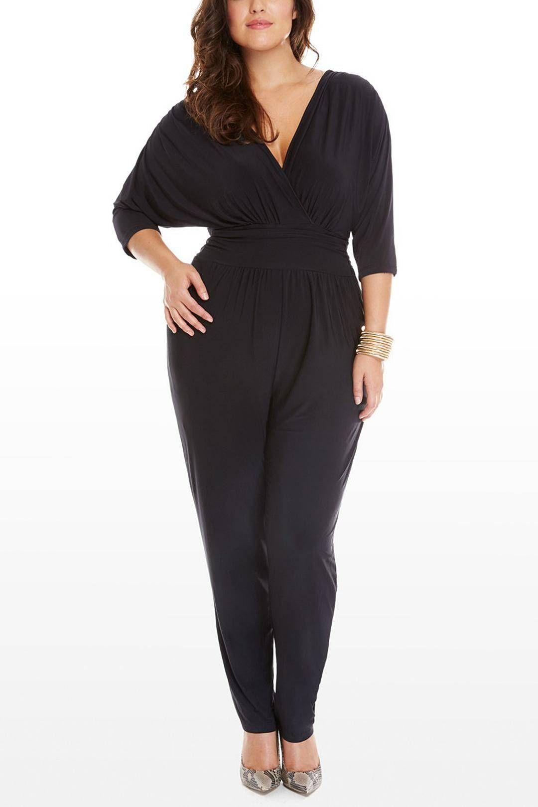 Plus Size Black V-neck Wrap Jumpsuit - US$15.95 -YOINS ...