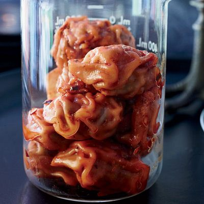 Pork Dumplings Served in Science-lab Beakers | Community Post: The Ultimate Collection Of Creepy, Gross And Ghoulish Halloween Recipes