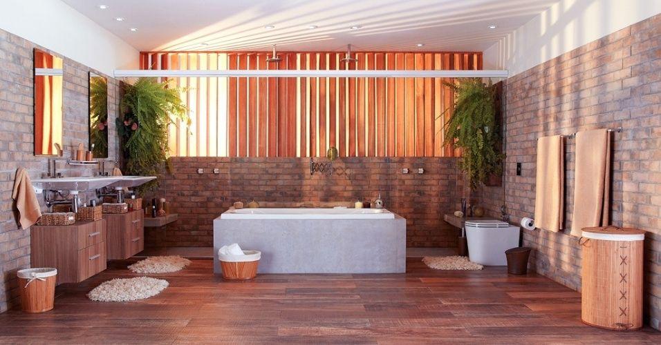 Com 12,45 m², o banheiro idealizado por Gustavo Calazans diferencia-se pelos acabamentos em porcelanato HD que imita diversos materiais, sendo mais apropriado para áreas úmidas e custando menos que os originais. A simetria marca o design com banheira ao centro encaixada em uma 'capa' de porcelanato. O boxe,(ao fundo) tem dois chuveiros ladeados por dois bancos e jardins. De um lado, o vaso e, do outro, duas cubas servidas por armários individuais. O brise se encarrega da ventilação