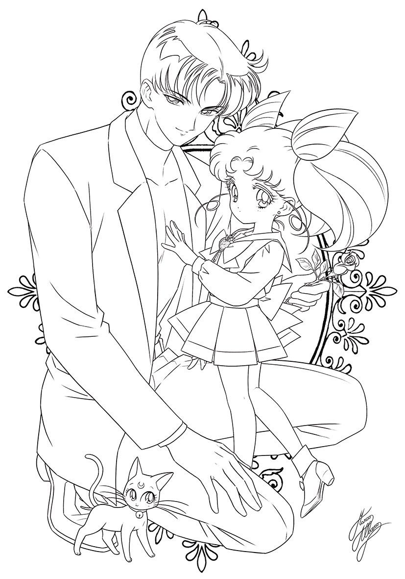 Пин на доске Sailor Moon расскраска