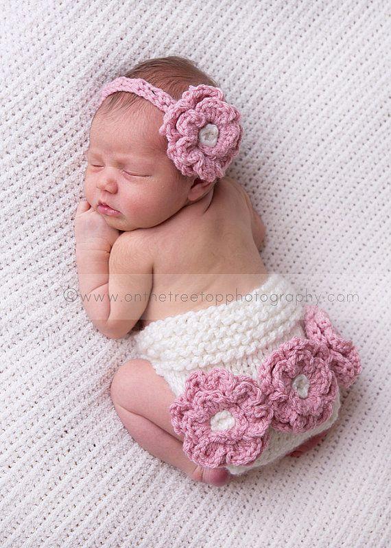 Newborn And Baby Headband Crochet Headband With Crochet Flower In