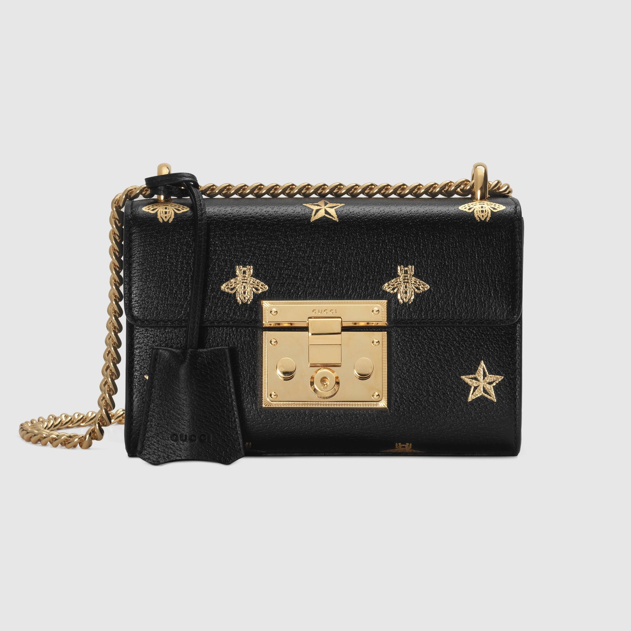 06764c543bdf Padlock Bee Star small shoulder bag in Black leather with gold bees and  stars print | Gucci Women's Mini Bags