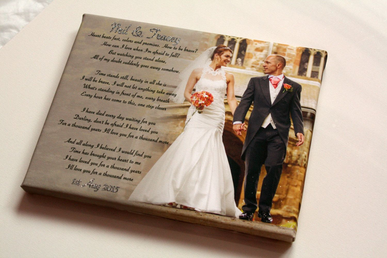 Personalised Wedding First Dance Song Keepsake Photo Glittered Picture Print