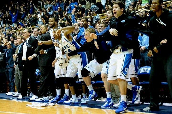 Duke bench after plumlee reverse dunk love it