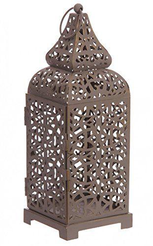 Lanterne style marocain Gris - Motif chantourné détaillé Amazonfr