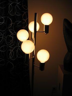70\'s Floor LAMP. Vintage 5 bulb Chrome Lamp. Mod Mid century modern ...