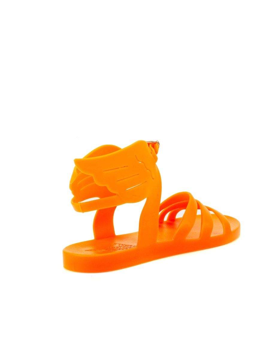 ANCIENT GREEK SANDALS orange Ikaria sandal rubber rubber sole round toe buckle closure contrasting 100% PVC