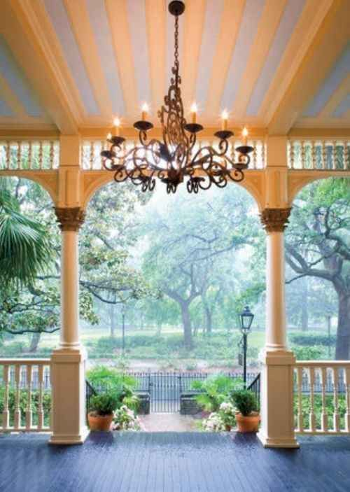 Light Up Your Front Or Back Porch With A Chandelier My Dream Home Simple House House Exterior