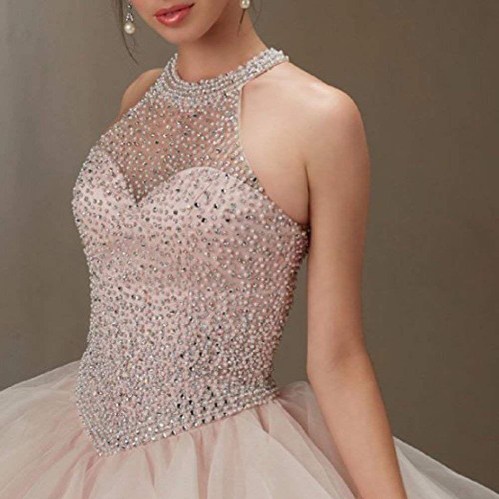 11b82925d00 20KyleBird Womens Sexy Halter Beaded Organza Quinceanera Dresses Pink1  Sweet 16 Sleeveless Ruffles Prom Party Ball