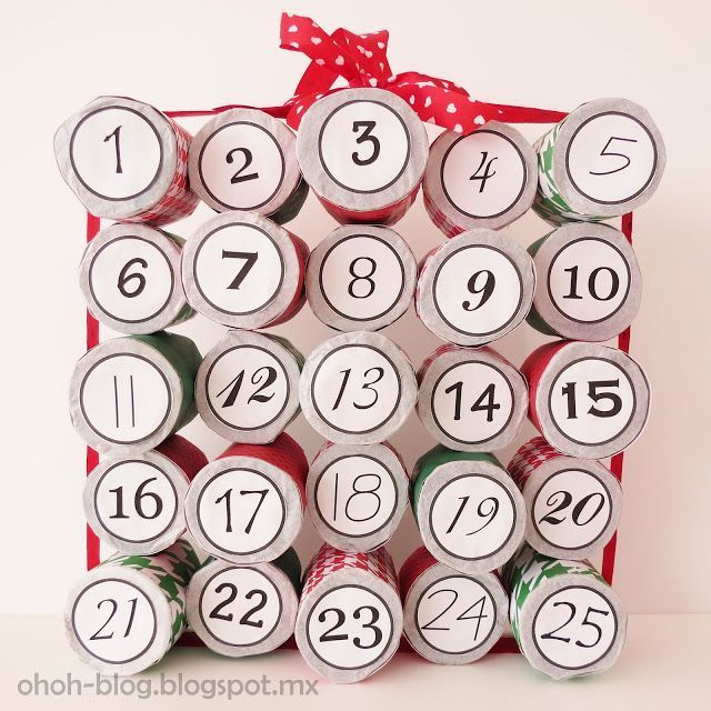 DIY Cardboard roll Advent Calendar - Ohoh deco #wineadventcalendardiy I wanted m...