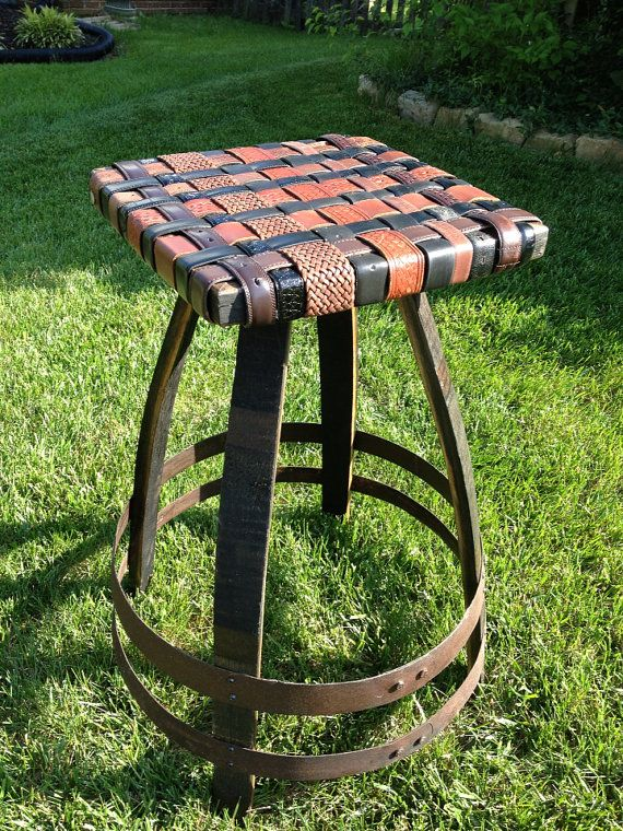 Amazing Bourbon Barrel Stave Bar Stool With Beltart Leather Seat Pdpeps Interior Chair Design Pdpepsorg