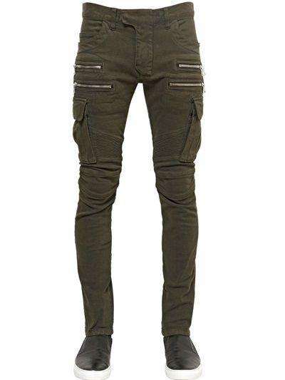 1a552059f11 BALMAIN  Cotton Denim Cargo Biker jeans