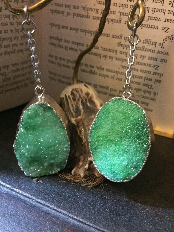 Druzy Jewelry Ear Weights Hangers Gauge Stone Green