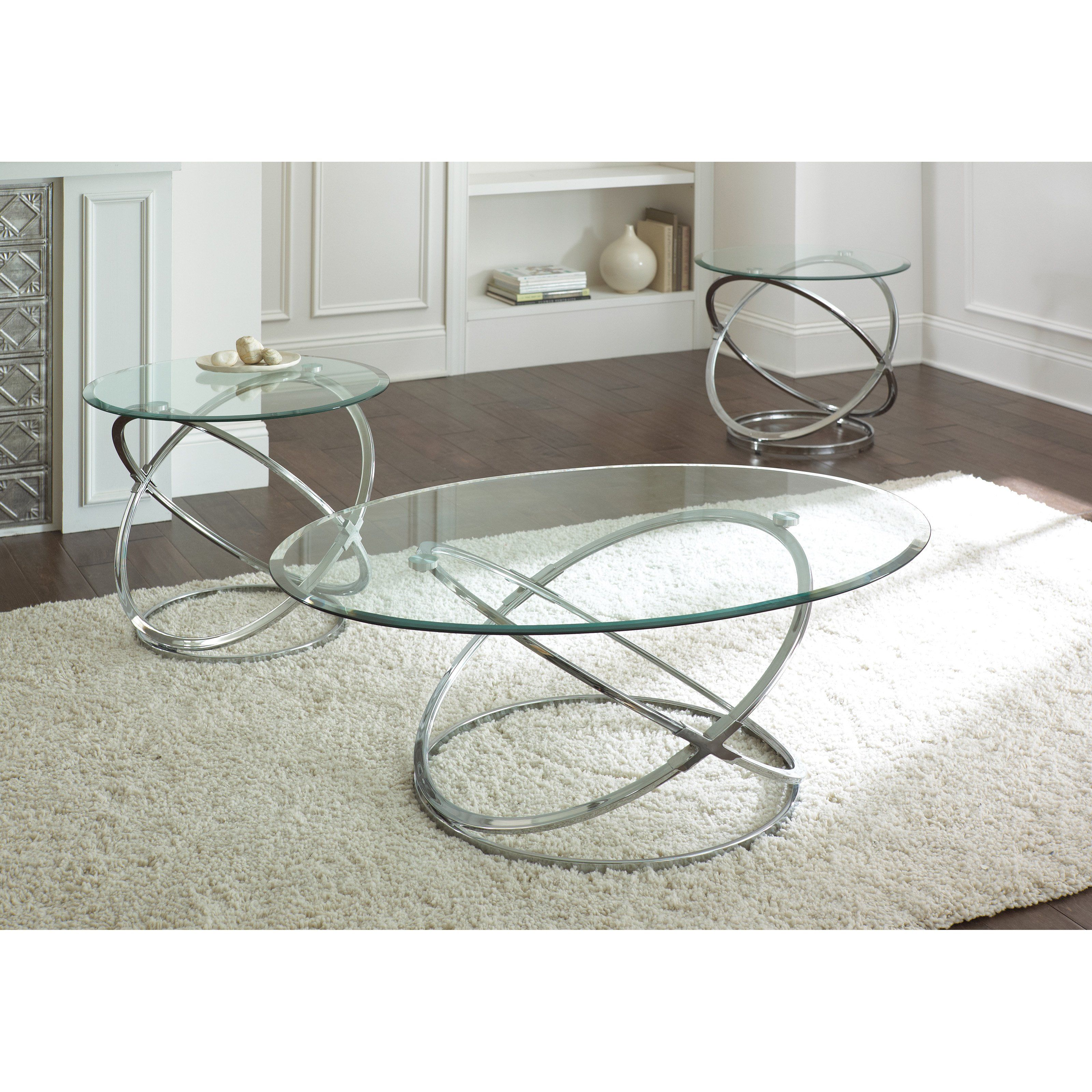Steve Silver Orion Oval Chrome And Glass Coffee Table Set Silver