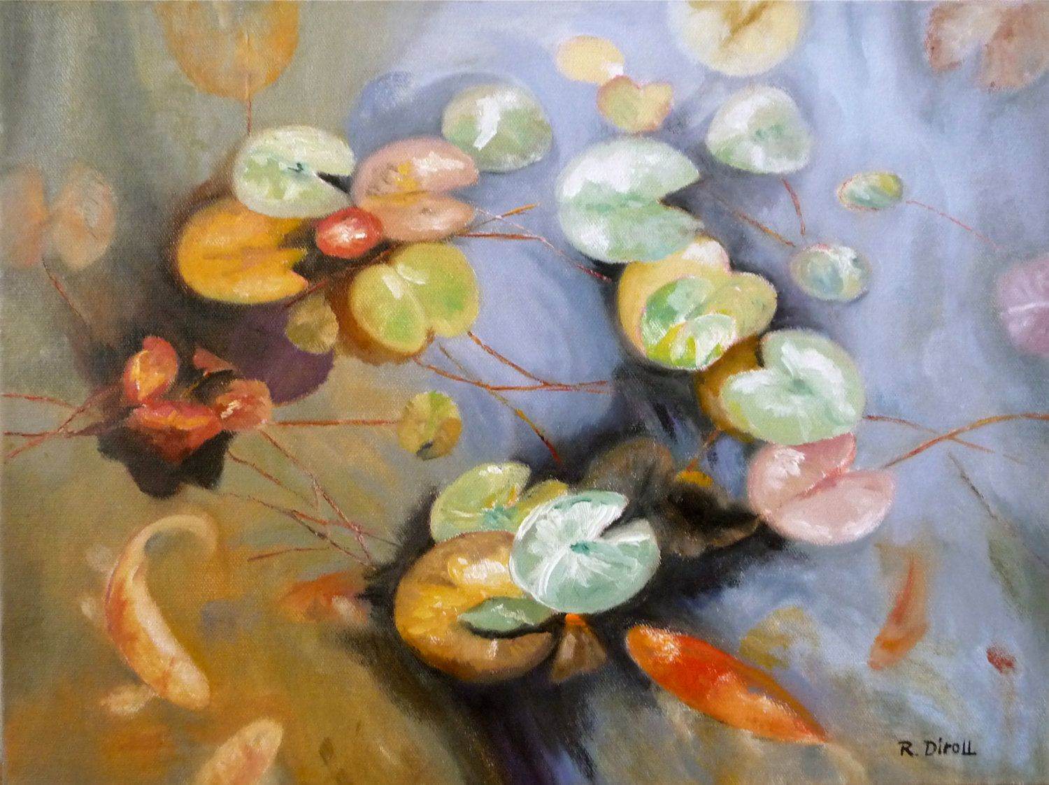 Autumn Leaves And Koi, Lily Pads, Fish Pond , Original Oil Painting. $425.00, via Etsy.