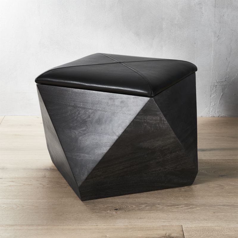 Shop Hex Black Leather Storage Ottoman Geo Sculpture Shapes Up As