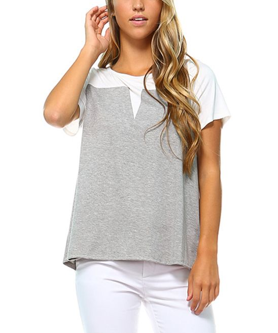 Heather Gray & White Color Block Swing Top