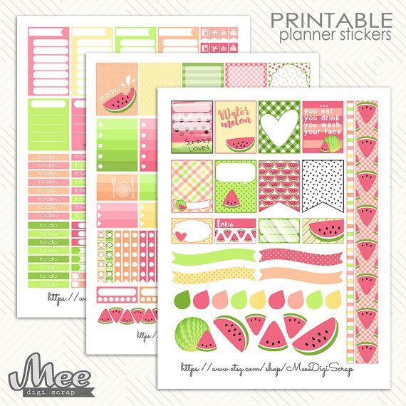 Pink Watermelon Printable Planner Stickersweekly By Meedigiscrap