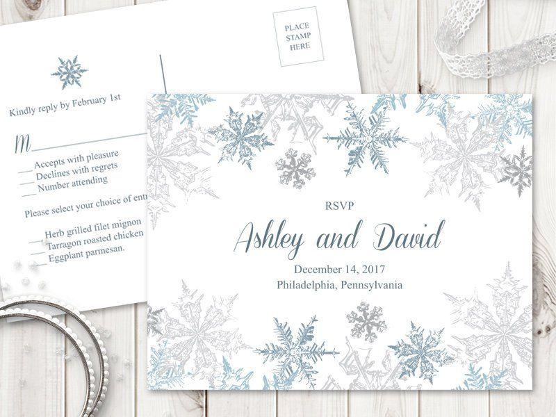 Winter Wedding Rsvp Postcard Template Snowflakes Etsy Wedding Rsvp Postcard Rsvp Postcard Wedding Rsvp