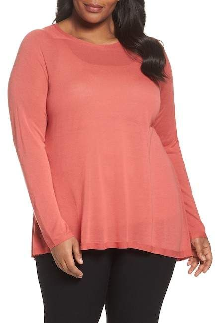 47597873971 Eileen Fisher Tencel(R) Lyocell Lyoceill Knit Sweater (Plus Size)