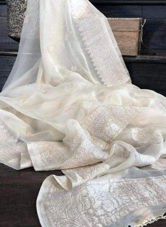 Cream pure chiffon banarasi sarees|pure chiffon sarees online