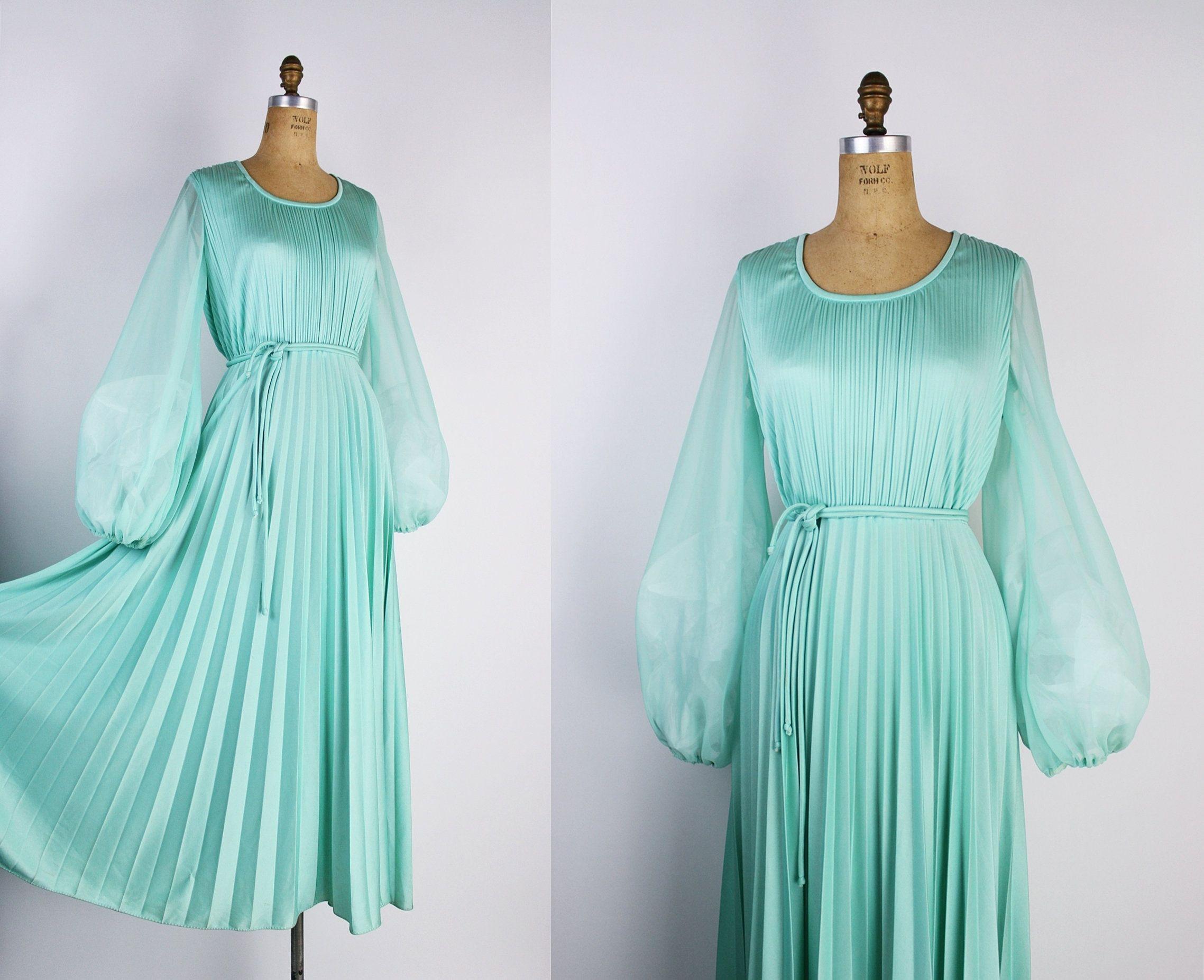 70s Mint Balloon Sleeves Maxi Dress Vintage Pleated Dress Etsy Vintage Maxi Dress Long Sleeve Cocktail Dress Maxi Dress With Sleeves [ 1853 x 2277 Pixel ]