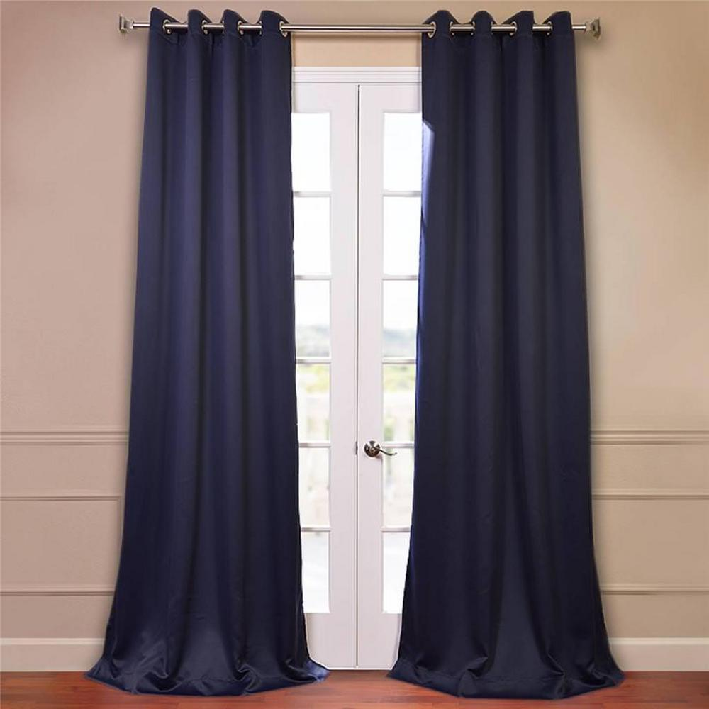 Exclusive Fabrics Furnishings Semi Opaque Navy Blue Grommet