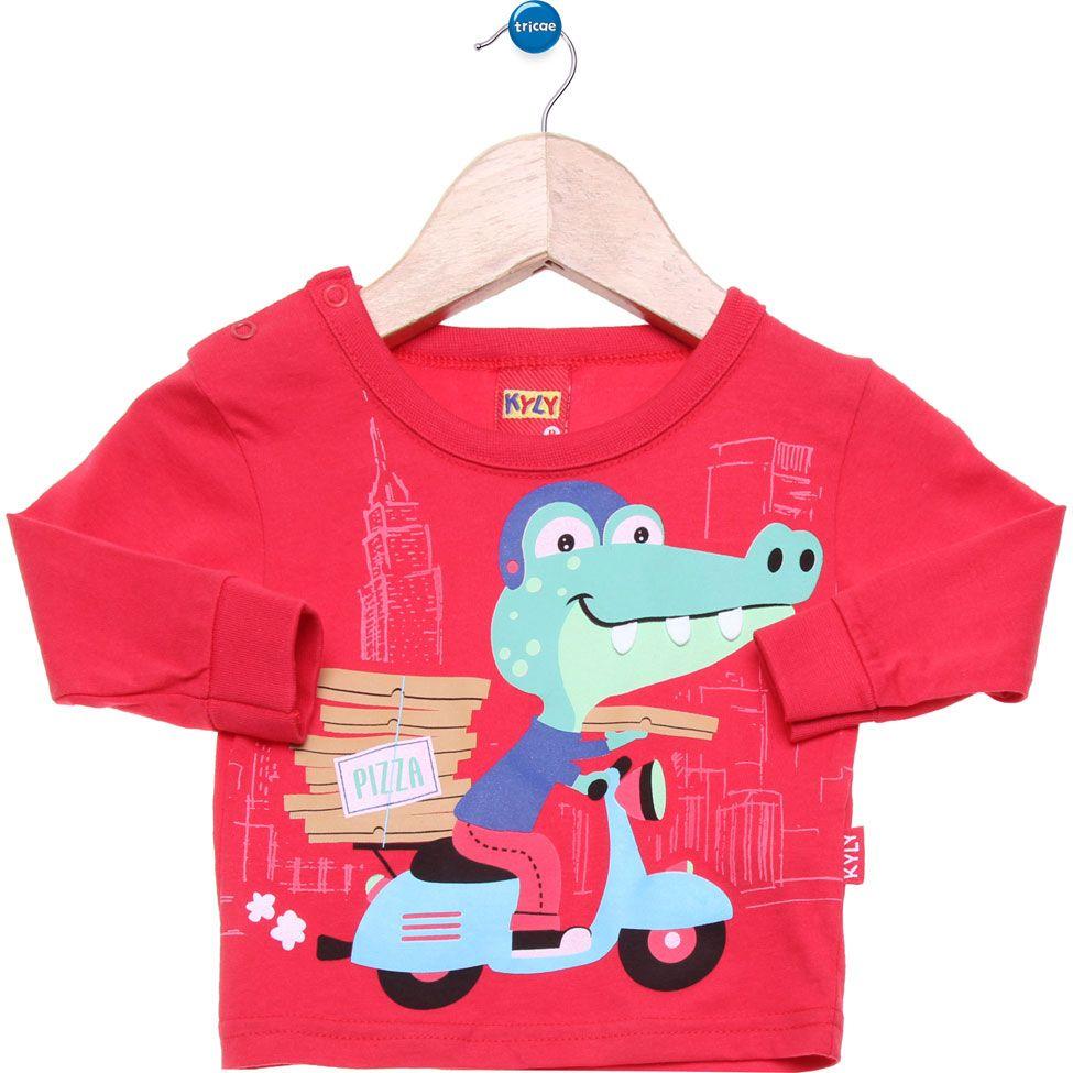 9574dd0842 Camiseta Manga Longa Kyly Nice Vermelha Conjunto Infantil Menino