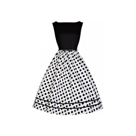 Retro šaty Lindy Bop Audrey Mono BW šaty ve stylu 50. let. dokonalé šaty  pro ještě dokonalejší dámy. klasická černo - bílá kombinace barev bc1df48ed06