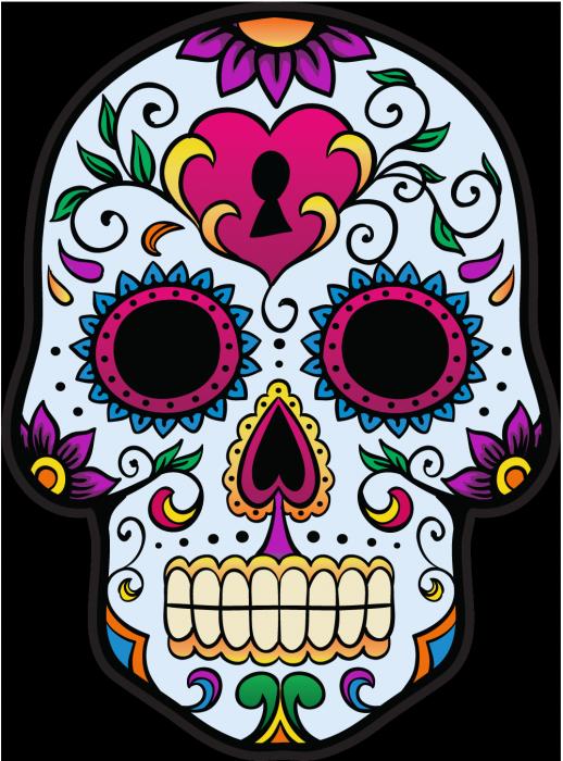sticker calavera tete de mort mexicaine 3. Black Bedroom Furniture Sets. Home Design Ideas