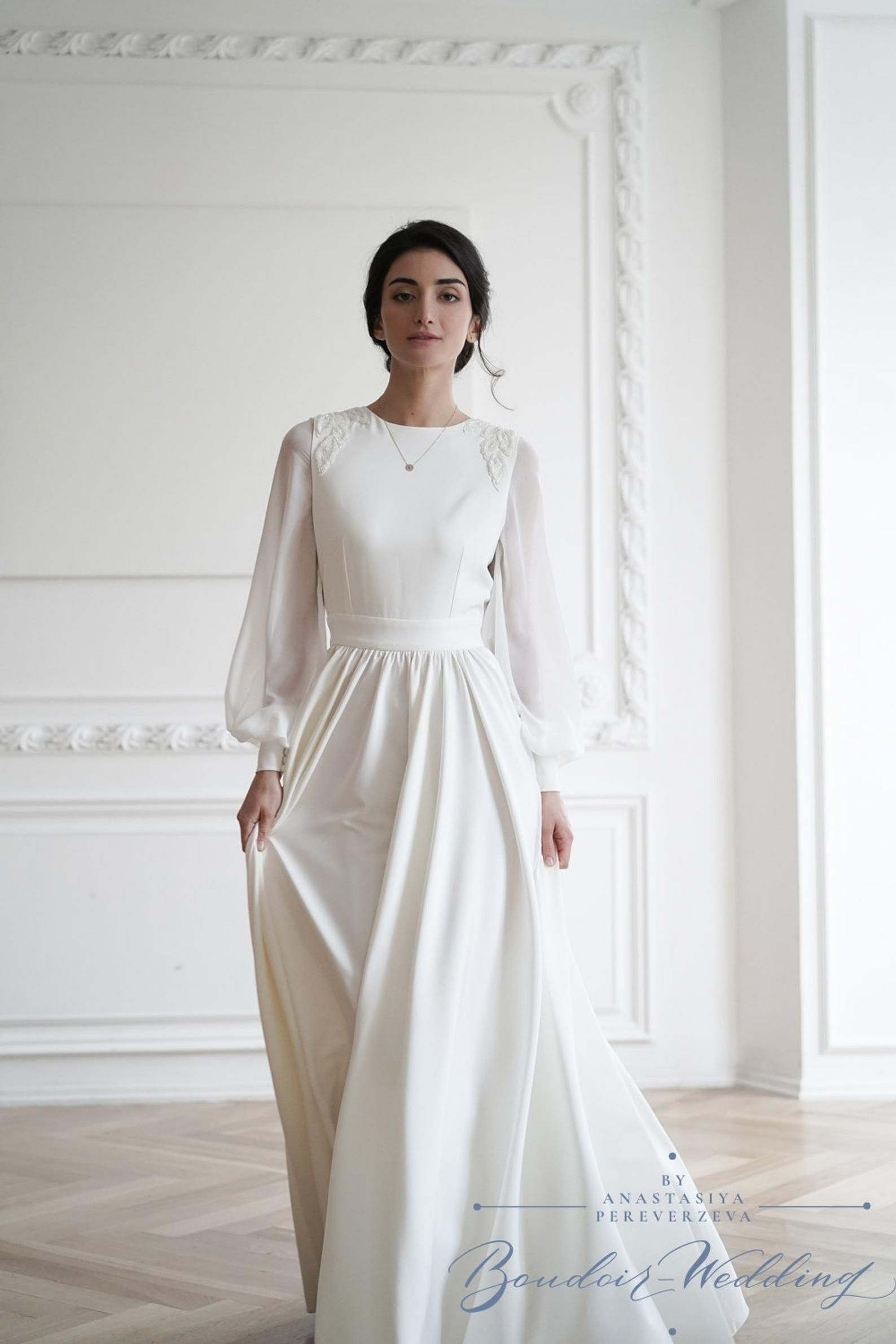 Simple Wedding Dress Minimalist Wedding Dress Long Sleeve Etsy Wedding Dresses Simple Wedding Dress Long Sleeve Minimalist Wedding Dresses [ 2382 x 1588 Pixel ]