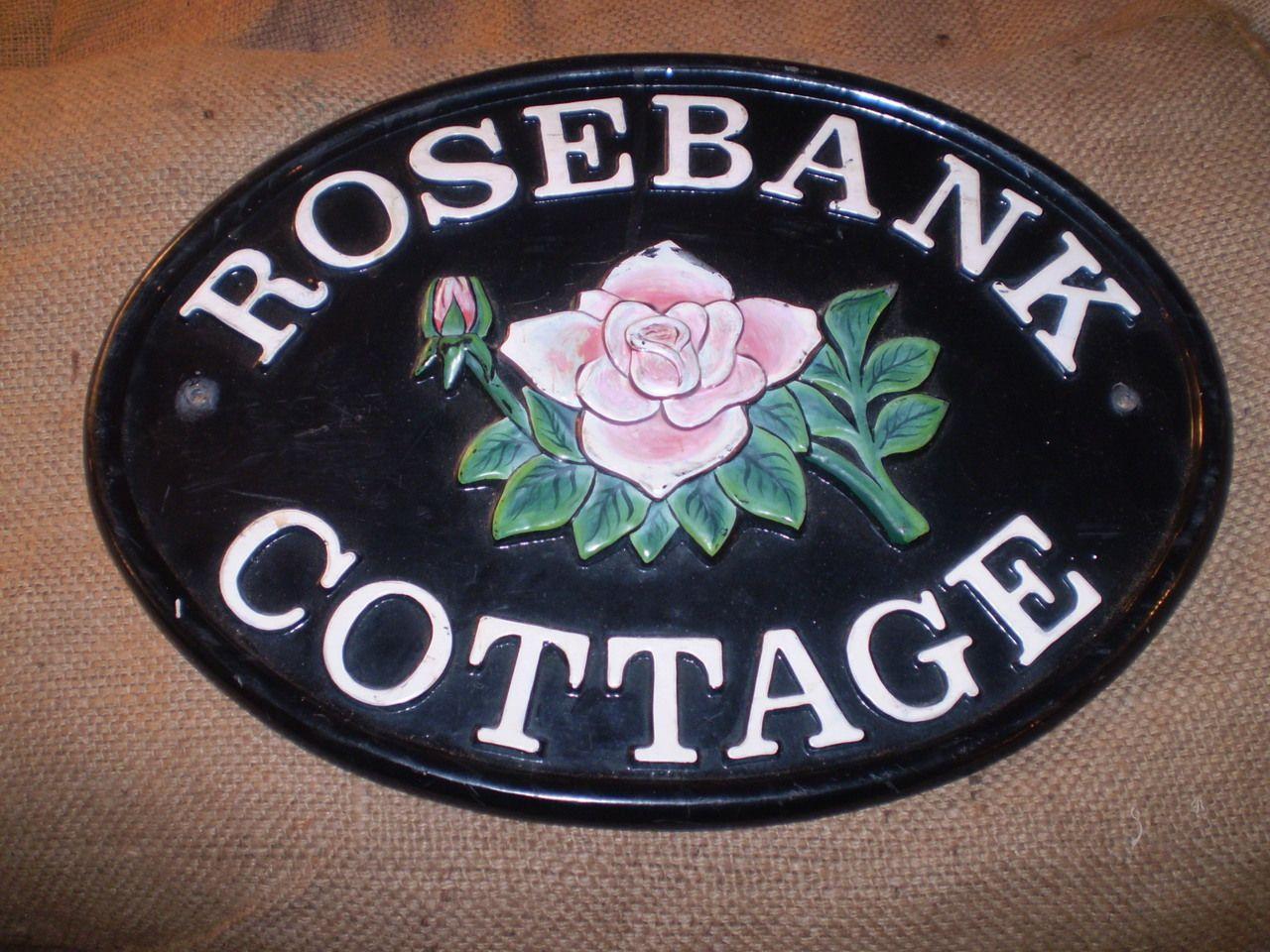 Creative Beach House Names Part - 33: The Garden Room - Vintage Cast Iron English House Name Sign,Rosebank  Cottage,Nice