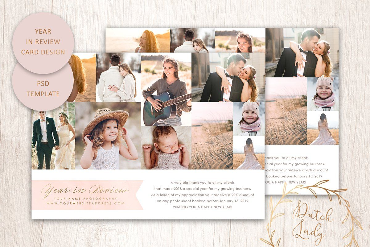 Psd Year In Review Card Template 2 Photoshop Template Design Card Photography Photo Card Template