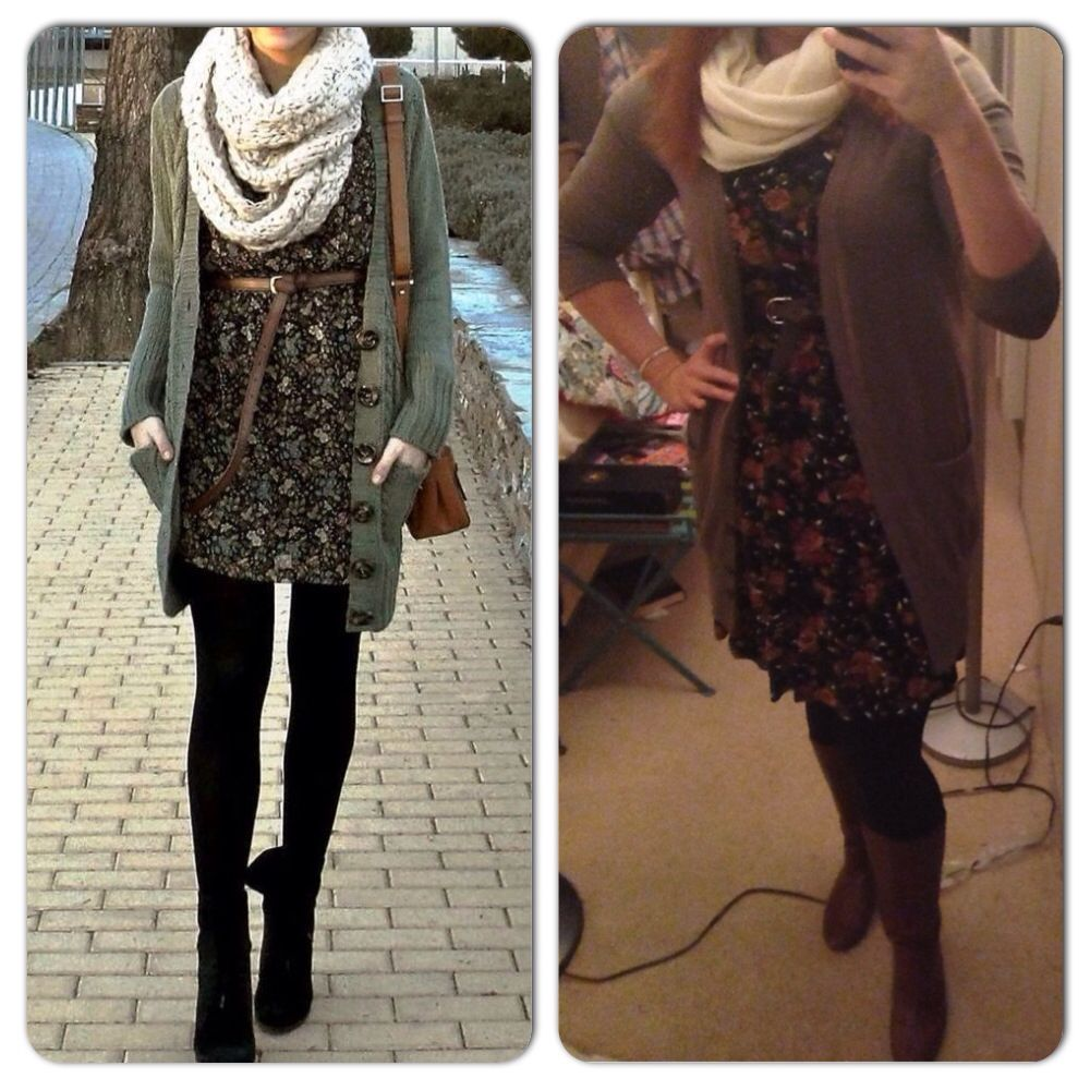 Brown Boyfriend Cardigan-Ross Floral Dress-Goodwill Black Leggings ...
