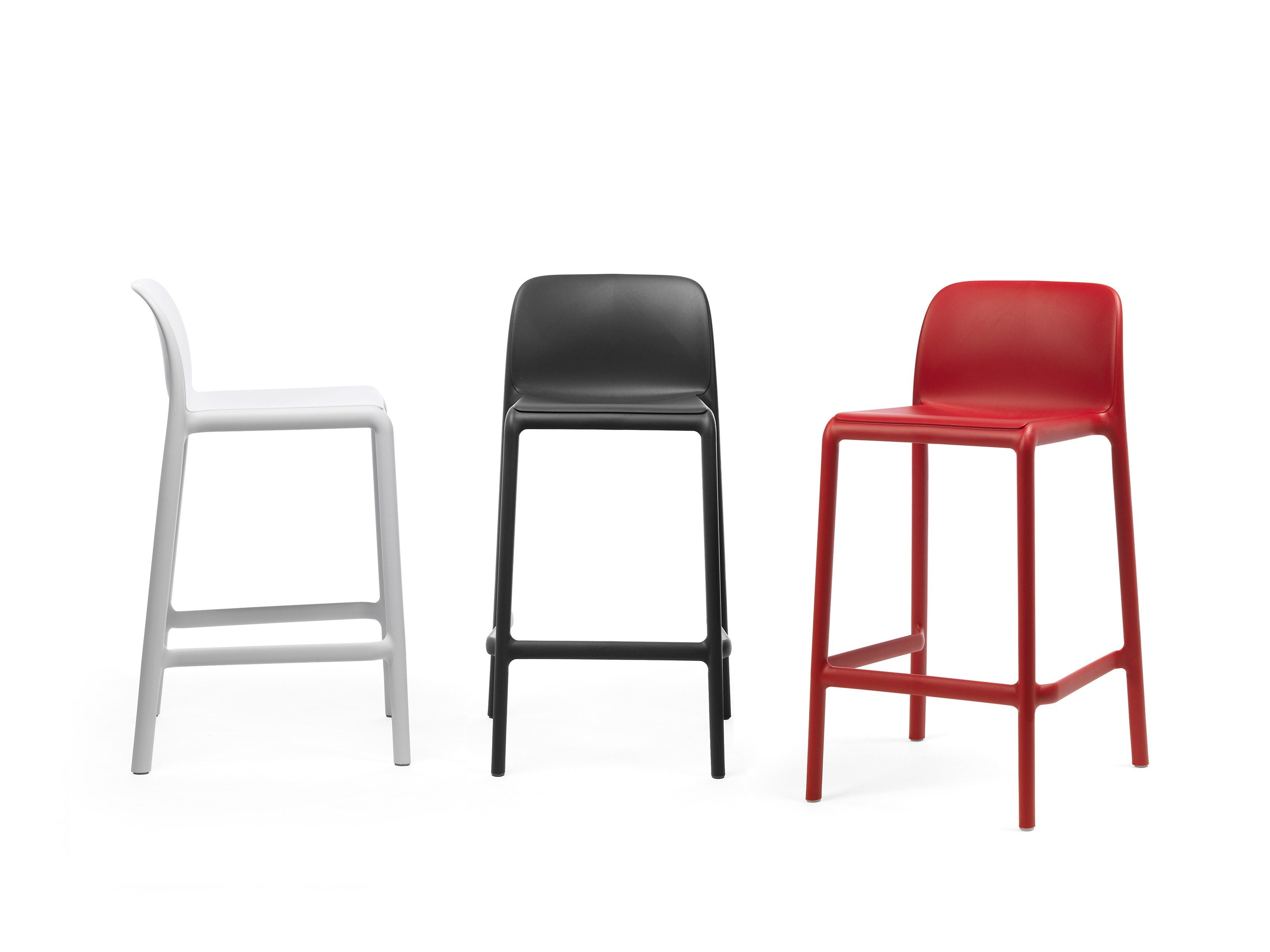 Stackable Glass Fibre Barstool With Footrest Faro Mini By