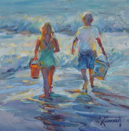 """""""The Start of Summer""""  12 x 12 Oil on Linen.  The special time of year for children -- school is out and summer and fun are here."""