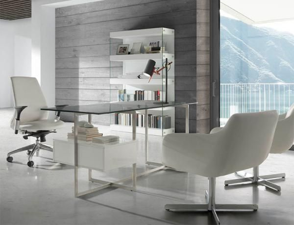 Contemporary angel cerda desk with glass top and drawer - Avant haus madrid ...