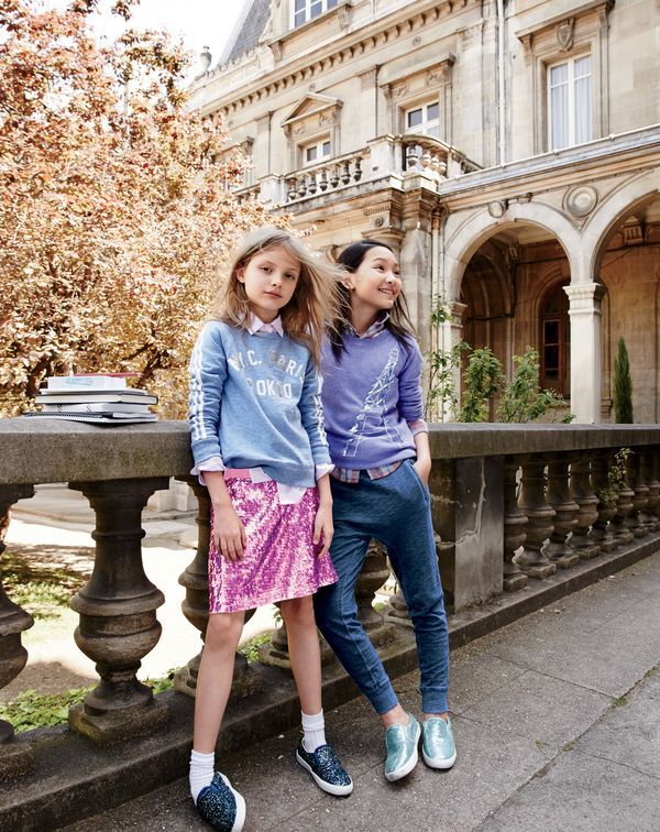 7b8b885c J.Crew girls' NYC Paris Tokyo sweatshirt, pink striped button-down shirt,  mermaid sequin skirt, Eiffel Tower popover sweater, plaid button-down shirt  and ...