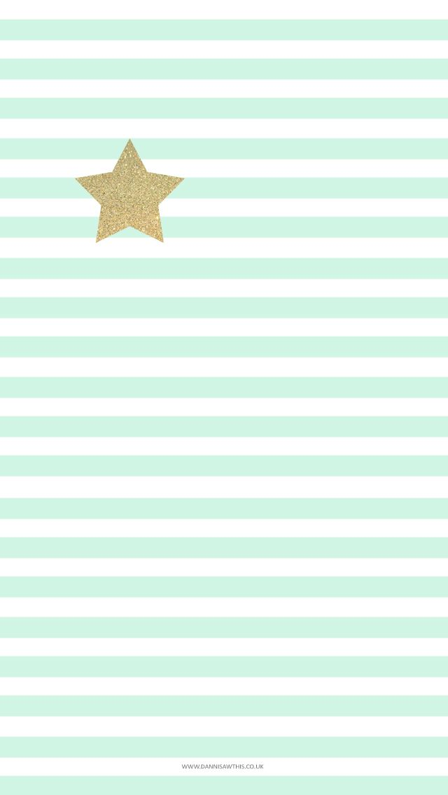 Pastel mint stripes gold star phone wallpaper iphone background lock