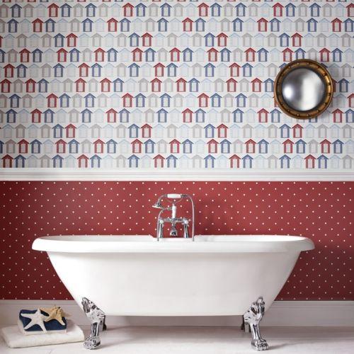 Tapeten Ideen Im Bad   Kleine Stilisierte Häuschen Als Dessin An Der Wand