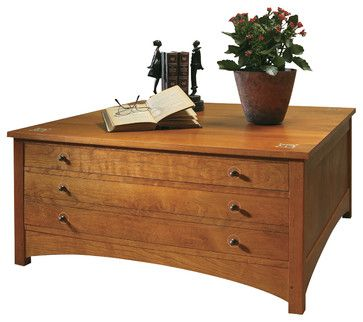 stickley harvey ellis storage cocktail table 89/91-495 - craftsman