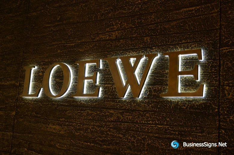 3D LED Backlit Signs With Brushed Brass Letter Shell & 20mm