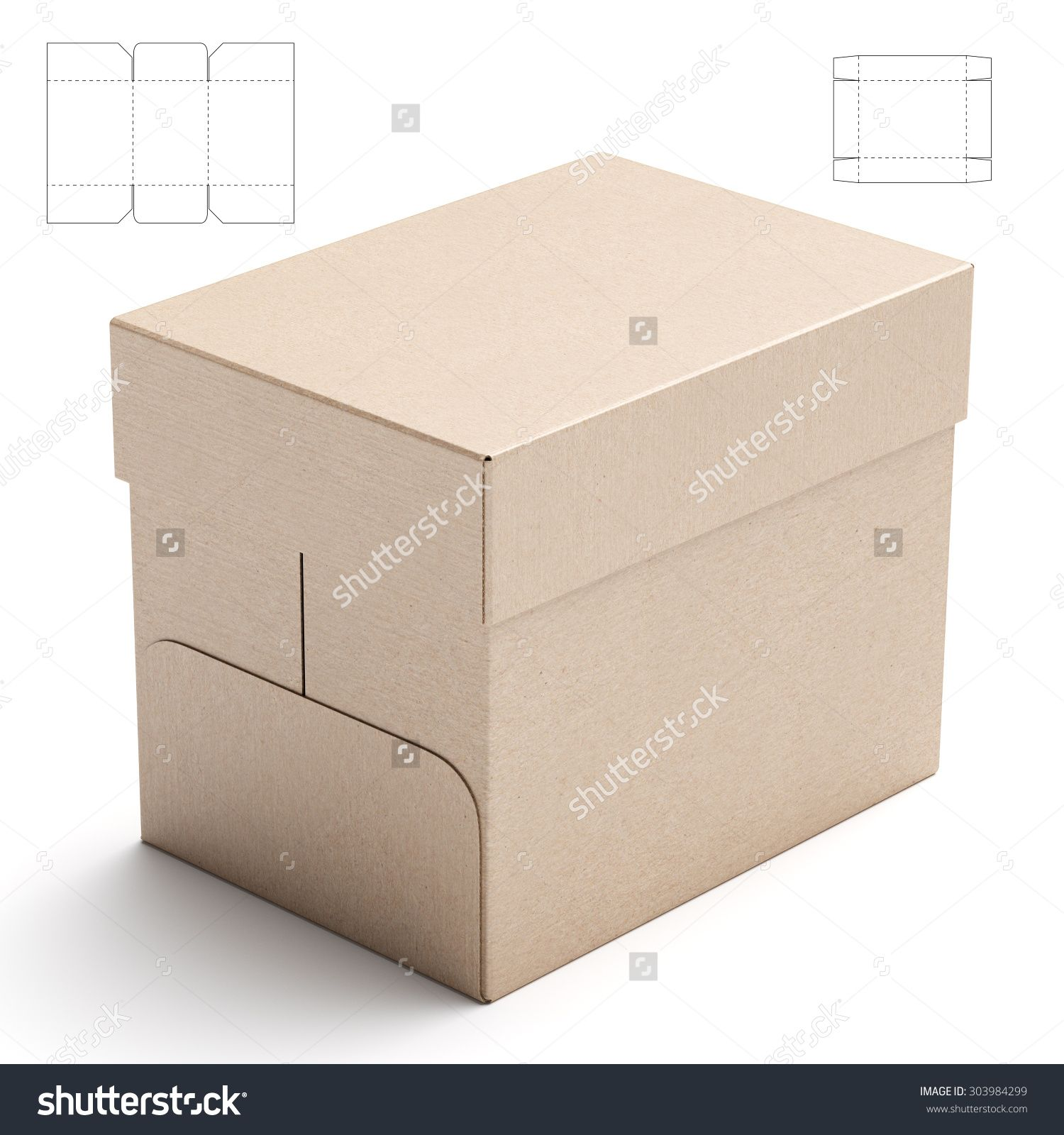 Storage Tray With Lid Box And Blueprint Template Stock Photo 303984299 : Shutterstock