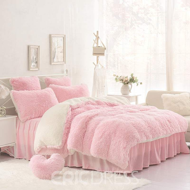 Vivilinen Solid Pink And Creamy White Color Blocking Fluffy 4 Piece Bedding Sets Duvet Cover Pink Bedroom Decor Pink Bedrooms Bedroom Design